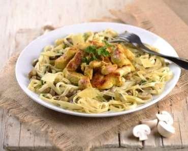 Receita de Fettuccine com frango e cogumelos