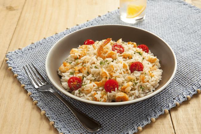 Receita de Arroz com camarão, alho e azeite