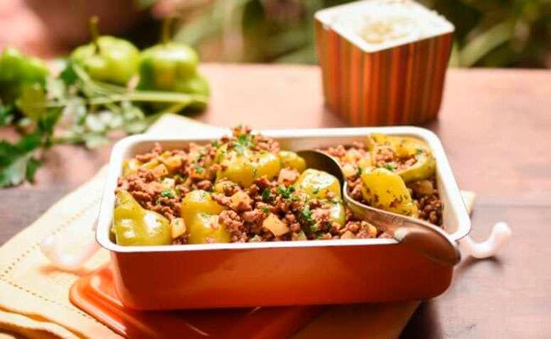 Receita de Mandioca cozida com carne moída Low Carb