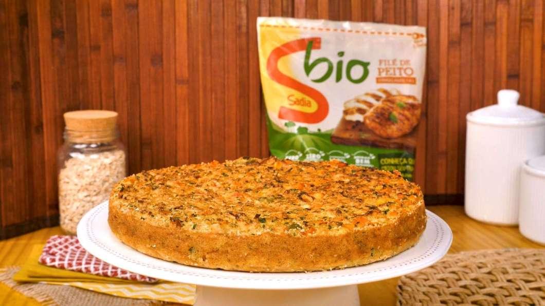 Receita de Torta de frango com farelo de aveia