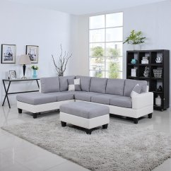 White Bonded Leather Sectional Sofa Set With Light Denim Slipcovered Sofas Sectionals And Types That Work For Your Rooms Cool