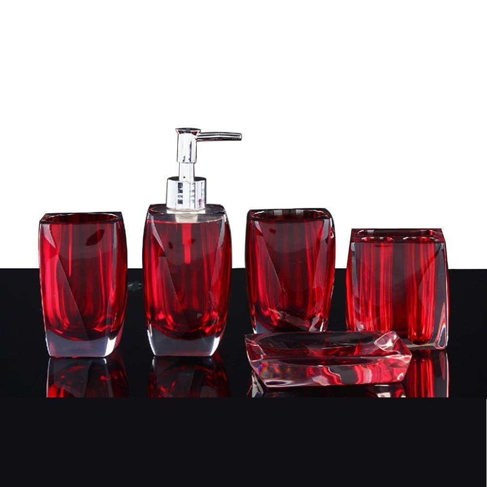 Red Bathroom Accessories Sets for Beautiful Room Decor
