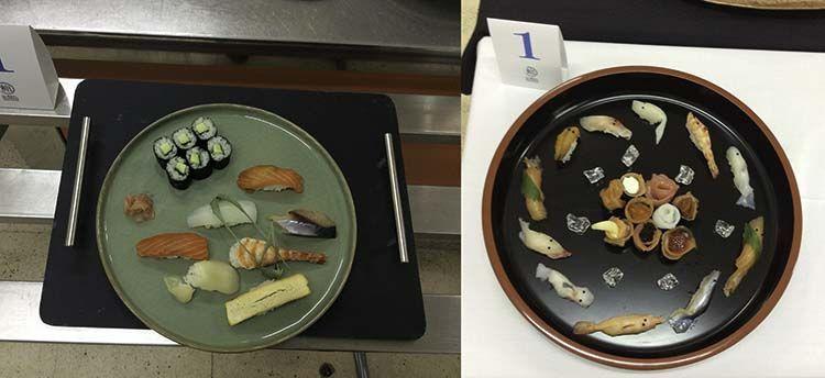 Izquierda: edomae/nigiri. Derecha: sushi creativo. El sushi creativo de Koji es como si fuera un acuario con peces.
