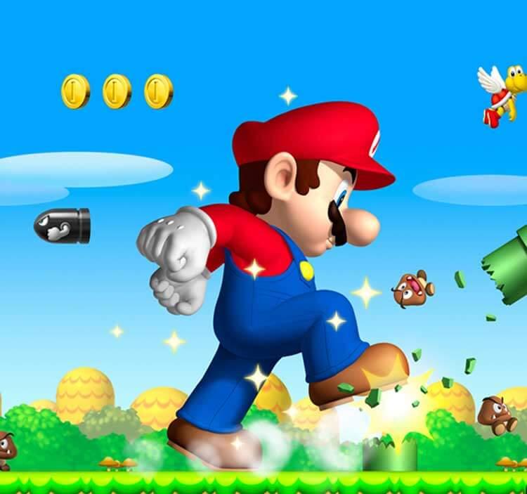 Mario destrozando parte de un nivel. Algo que el jugador puede experimentar en New Super Mario Bros. (Nintendo DS, 2006).