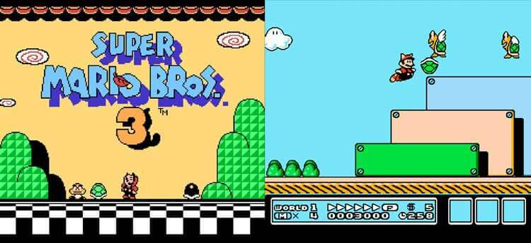 Pantalla de título de Super Mario Bros. 3 y a la derecha, pantalla de juego, mostrando al personaje en un nivel del videojuego.