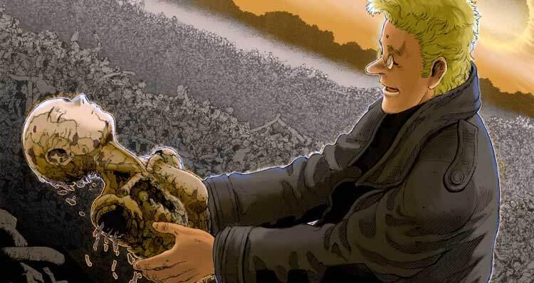Daisuke Ito encuentra los restos de Gally (Alita). Ilustración de Yukito Kishiro.