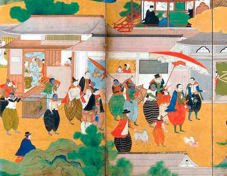 Imagen III. Escuela Kano, Biombo Namban, finales XVI-principios XVII. Namban Bunkakan, Osaka.