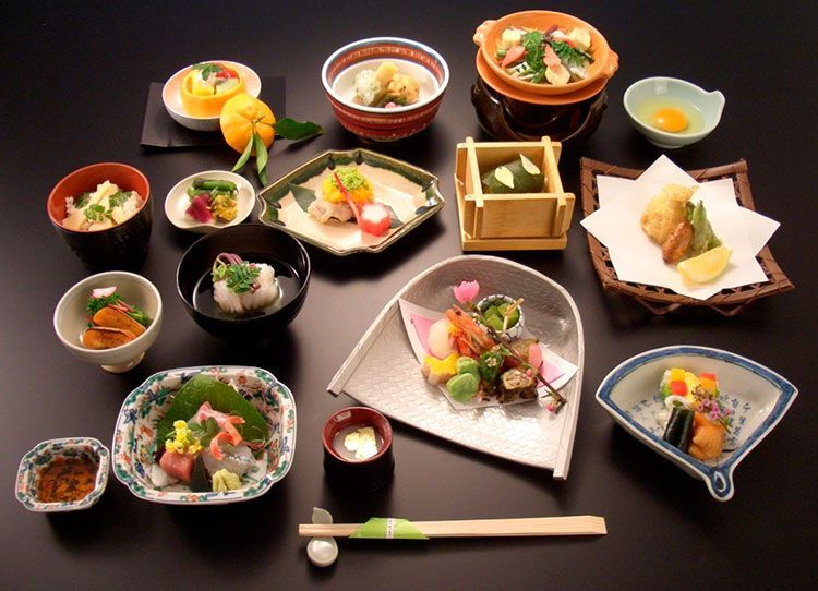 Washoku, plato Kaiseki de alta cocina.