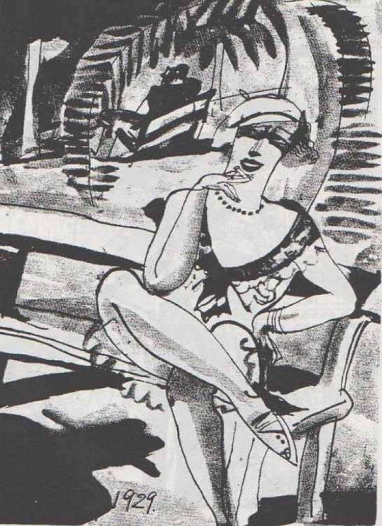 ilustración de Saseo Ono para un número de la revista Tokyo Puck de 1929. Mientras la pareja de amantes se besuquea al fondo, en un banco, bajo la tórrida noche de verano, un hombre cuya sombra aparece proyectada en el suelo se aproxima a la voluptuosa joven del primer plano, que, cigarrillo en mano, parece ofrecerle asiento junto a ella… Nótese la estética del dibujo, caracterizado por la deformación de las figuras y el juego de contrastes entre luces y sombras, elementos propios del expresionismo europeo, en auge durante la década de los años 20 del siglo pasado.