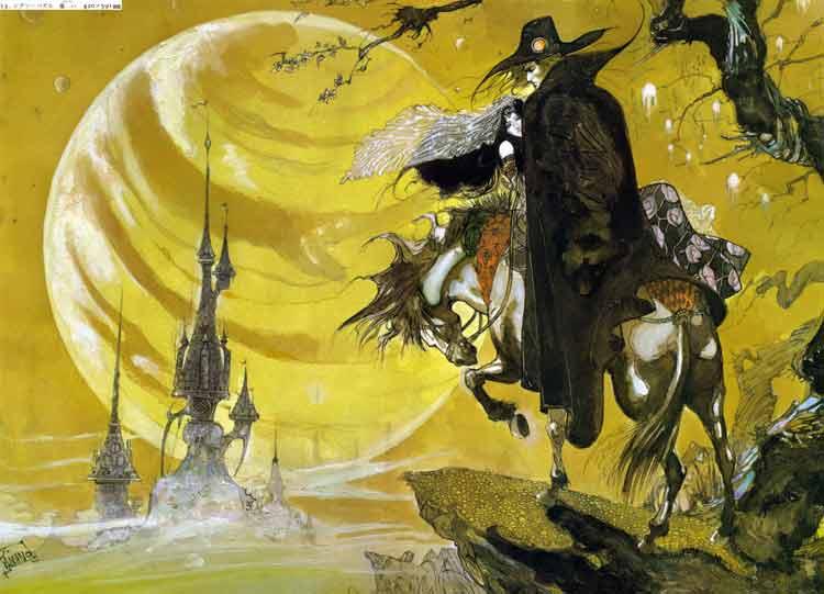 Ilustración para la saga de novelas de Vampire Hunter D, por Yoshitaka Amano.