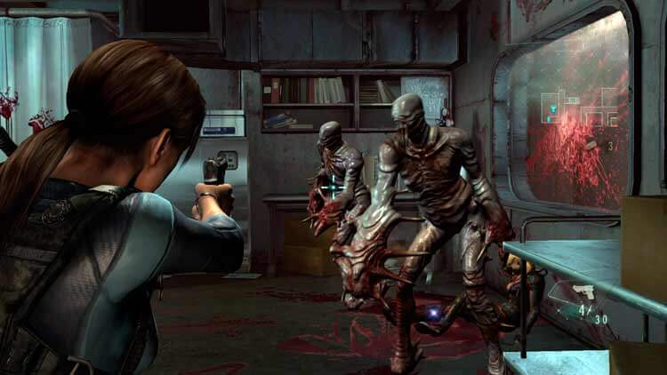 Jill Valentine se enfrenta a varios enemigos (BOWs o Bio Organical Weapons) en Resident Evil: Revelations (captura de la versión de PC de 2013).