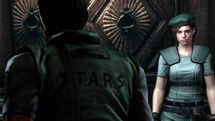 Chris Redfield y Jill Valentine, protagonistas de Resident Evil, y las dos opciones jugables en el primer videojuego; en la versión de 2015 para PC del remake de GameCube de Resident Evil.