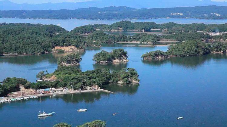 El hermoso paisaje y las islas de Matsushima en Miyagi.