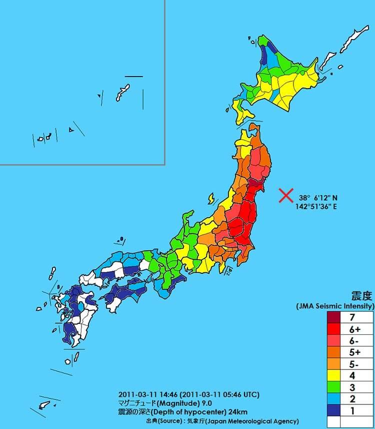 El mapa de intensidad del terremoto de 2011.