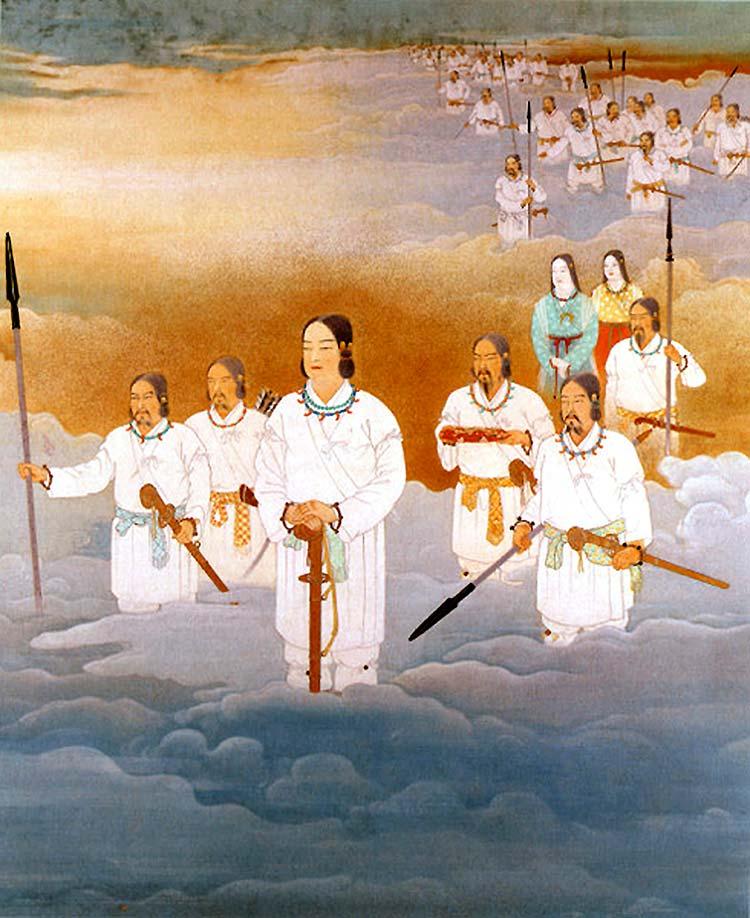Tensonkorin: Nigiri, nieto de Amaterasu, está bajando en la tierra desde el cielo.