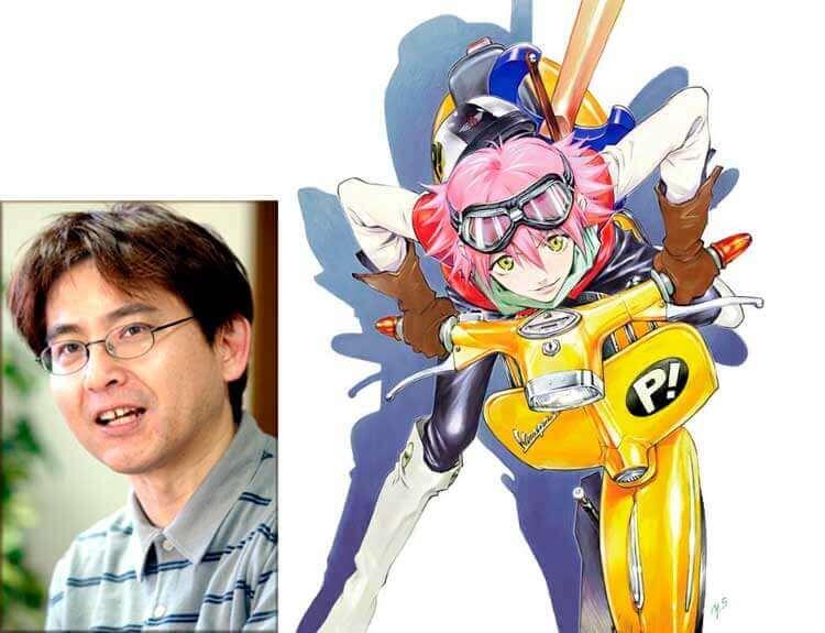El mangaka y diseñador, Yoshiyuki Sadamoto y Haruko Haruhara, ilustrada por él como arte promocional, para la serie FL-CL, de Gainax (2000).