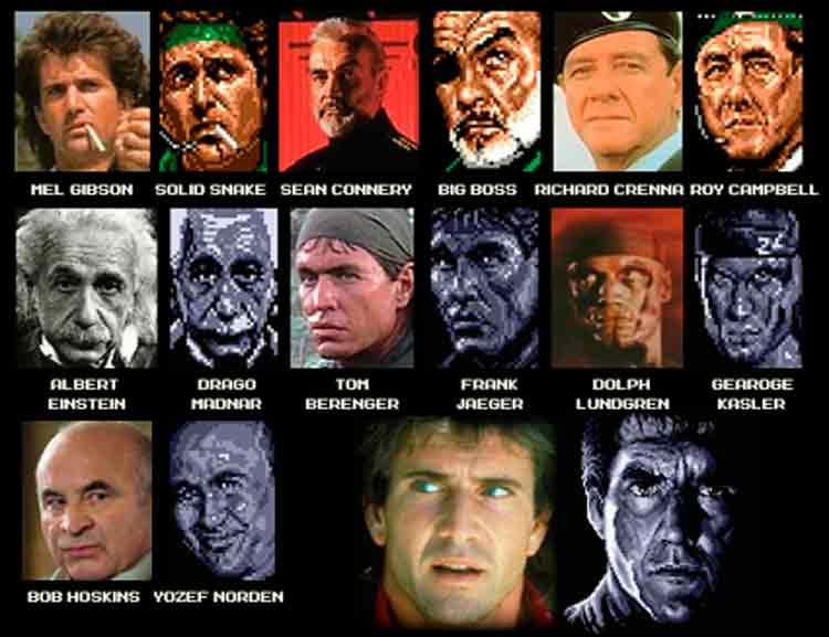 Inspiraciones para los diseños de personajes de Metal Gear 2: Solid Snake. Salvo Einstein, podemos comprobar que Kojima no ocultaba para nada su gusto por el cine más taquillero y sus protagonistas.