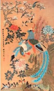 Pintura con aves del paraíso y flores. Chou Chimian. China. Segunda mitad del siglo XVII.