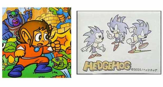 Alex Kidd en la carátula de Alex Kidd in Miracle World (1986); y Sonic el erizo (bocetos de Oshima).
