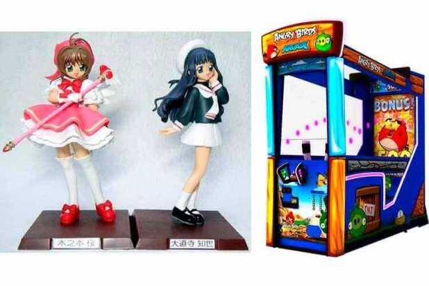 Sakura y Tomoyo, de Cardcaptor Sakura (CLAMP), y máquina arcade de Angry Birds. Realizada por Sega en colaboración con Rovio (el estudio que creó el juego).