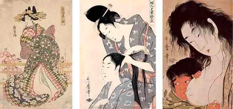 varios ejemplos de obras de Utamaro en la que se ve la evolución de la mujer en su obra, de cortesana a madre.