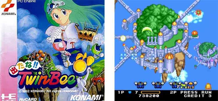 Carátula de la versión para PC Engine de Detana!! Twinbee, y captura de pantalla de dicho videojuego en esa misma versión.