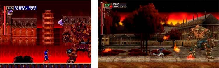 A la izquierda, el Castlevania: Rondo of Blood original de PC Engine. A su derecha, imagen de la versión remake de dicho videojuego, Castlevania: The Dracula X Chronicles.