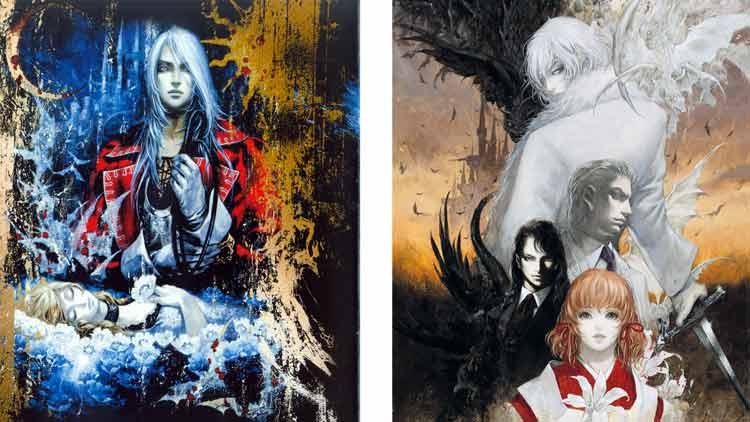 Arte promocional de Castlevania: Harmony of Dissonance y Castlevania: Aria of Sorrow, realizado por Ayami Kojima.