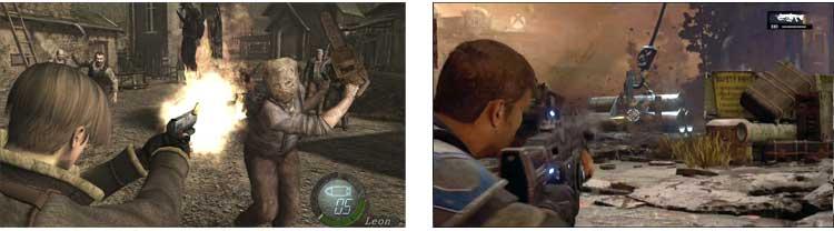 Resident Evil 4, versión HD de 2014, y a su derecha, Gears of War 4, Xbox One, que acaba de salir al mercado en octubre de 2016. Podemos notar que, once años después del Resident Evil 4 original (la versión en alta definición salió a la venta nueve años después) de 2005, los videojuegos de acción han incorporado muy claramente ciertos elementos de jugabilidad del juego de Mikami.