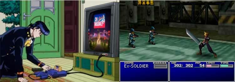 Vemos la presencia de Nintendo 64 en la cultura popular (pese a no ganar en ventas a sus competidoras, ha gozado de una enorme fama y un gran cariño por parte de los entusiastas de los videojuegos y coleccionistas de videoconsolas). En la imagen de la izquierda, vemos a Josuke Higashikata, protagonista del cuarto arco argumental de Jojo's Bizarre Adventure, con su videoconsola Nintendo 64 (en el manga, es poseedor de una Super Famicom en su lugar). La imagen corresponde a la versión animada, realizada este mismo año. A la derecha, captura de pantalla de Final Fantasy VII en su versión para PC. Este videojuego fue una de las joyas que, por abandonar Nintendo el soporte al CD, y perder la colaboración con Sony, (y que ésta crease su propia videoconsola) no aparecieron en la consola de Nintendo.