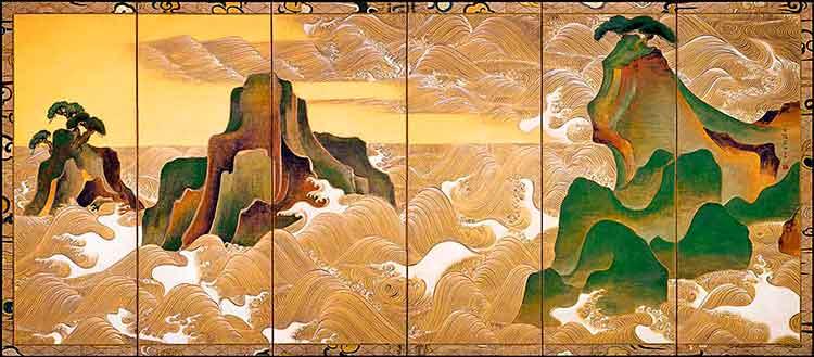 Olas en Matsushima, de Ogata Korin