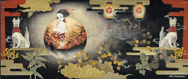 La obra para la portada del libro «Kotorizo» publicado en marzo de 2015 28.6cm x 70.2cm Materiales: 雲肌麻紙に岩絵具、水彩絵具、鉛筆、金泥、千代紙