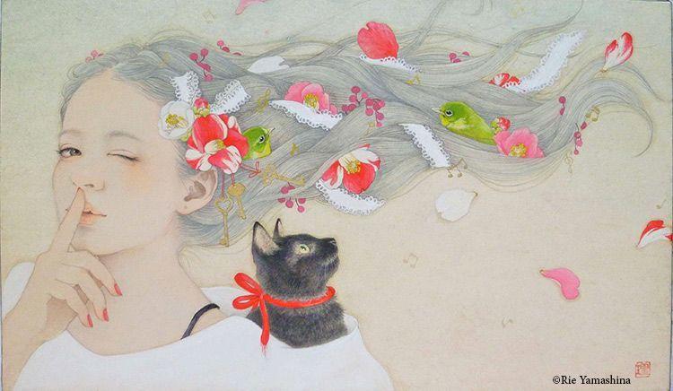 «Himitsu Kaigi (秘密会議, reunión en secreto)» en 2014  41cm x24.2cm Materiales: 雲肌麻紙に岩絵具、水彩絵具、鉛筆、金泥、千代紙