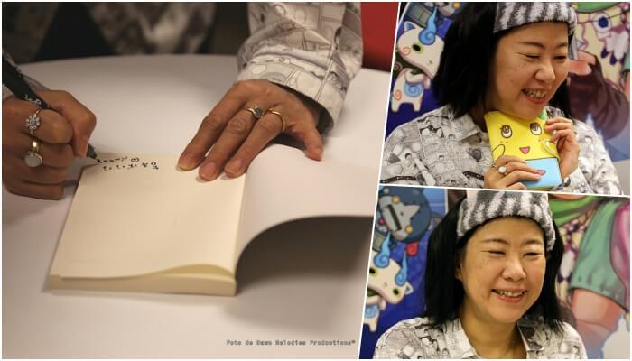 Firma de ejemplares y fotografía de Banana Yoshimoto por «Dawn Melodies Productions»