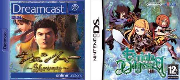 Arte original de las carátulas de Shenmue (1999), y de Etrian Odyssey (2007).