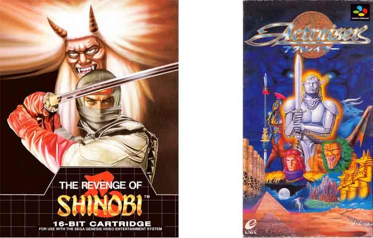 Portadas originales de los videojuegos The Revenge of Shinobi y ActRaiser.