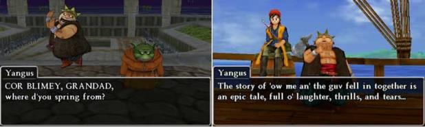 """Aquí podemos ver algunas de las frases de Yangus, en donde se ven usos de la jerga """"cockney"""" londinense, así como también podemos comprobar que el texto, pese a no ser lo más nítido y claro que hemos visto en un videojuego, es perfectamente legible."""