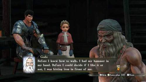 Guts junto a Erika y Godo en casa del anciano herrero.