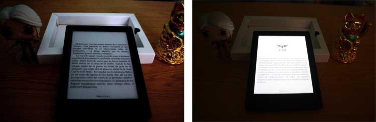 A la izquierda, el lector Kobo Aura H20 con la luz apagada. A la derecha, la luz del lector activada al 100% en el mismo lugar y unos segundos después (la variación de luz ambiental se debe a la cámara fotográfica y la reacción del sensor con la luz emitida por el dispositivo).