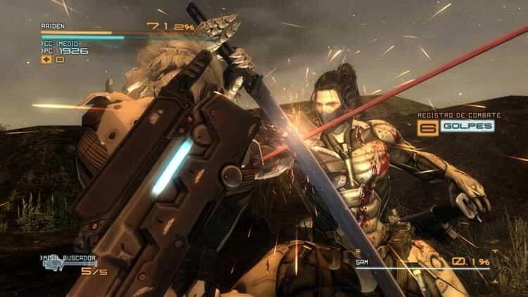 Raiden se enfrenta a Samuel Rodrigues (Jetstream Sam), un miembro de un ejército privado en Metal Gear Rising: Revengeance.