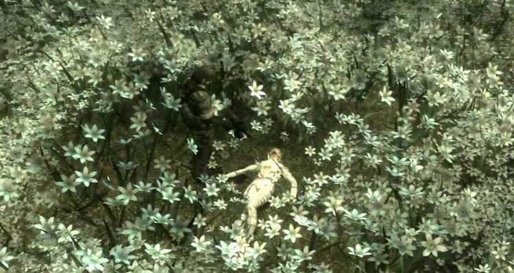 Imagen del duelo entre Snake y The Boss, en el momento en que el jugador tiene que apretar el gatillo para rematarla.