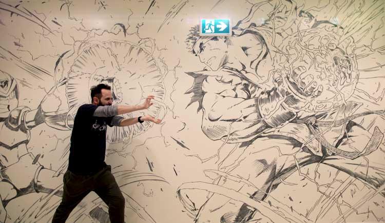 Javier García, con arte de Megaman y Ryu, de Street Fighter… ¡¡Hadōken!!