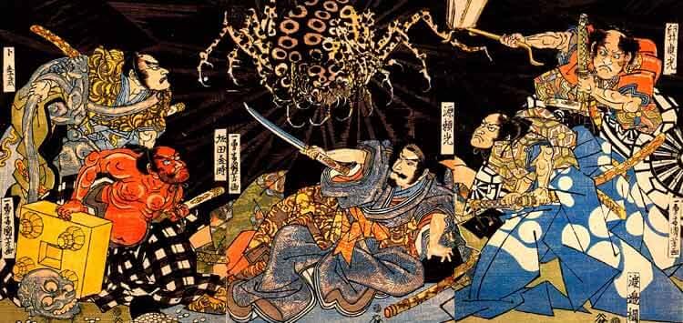 """Otra de las obras del artista Kuniyoshi que podréis ver en persona en esta exposición, """"El ataque de la araña-monstruo, Tsuchigumo""""."""
