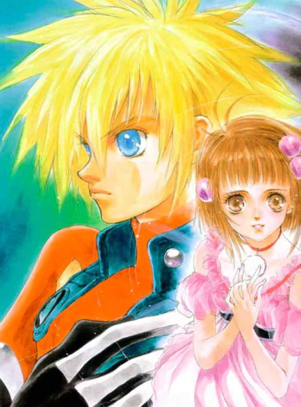 Arte conceptual de Tales of Destiny 2, de Mutsumi Inomana, que muestra a Kyle Dunamis a la izquierda, y a Reala a la derecha.