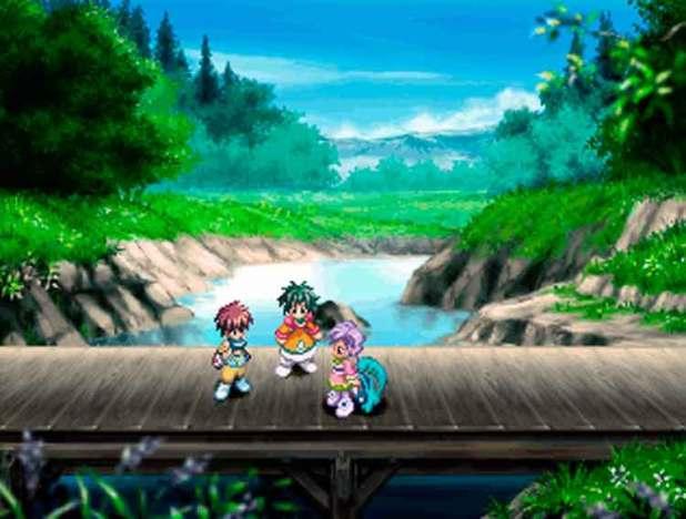 El protagonista de Tales of Eternia, Reid Hershel (a la izquierda), junto a Farah Oersted (centro) y Meredy (derecha). Imagen perteneciente a la versión original de PlayStation de Tales of Eternia (2000).