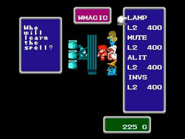 Los protagonistas de Final Fantasy en una tienda de hechizos (otro de los muchos elementos propios de los juegos de rol de mesa y tablero que vemos en este título).