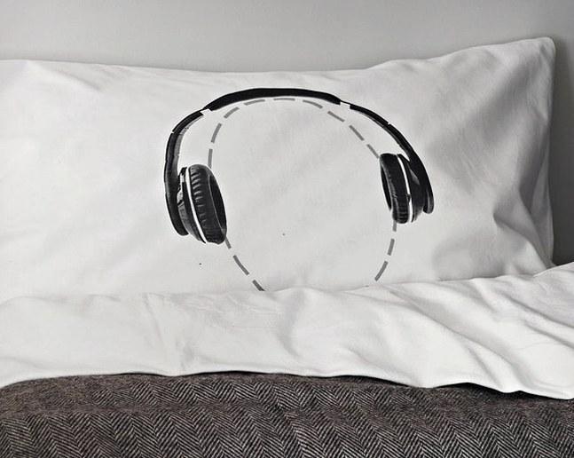 Headphones Head Case Pillowcase  Cool Material