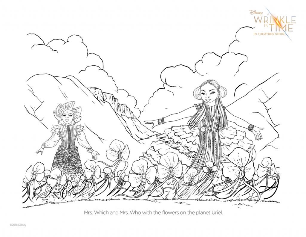 Free A Wrinkle In Time coloring pages + activity sheets