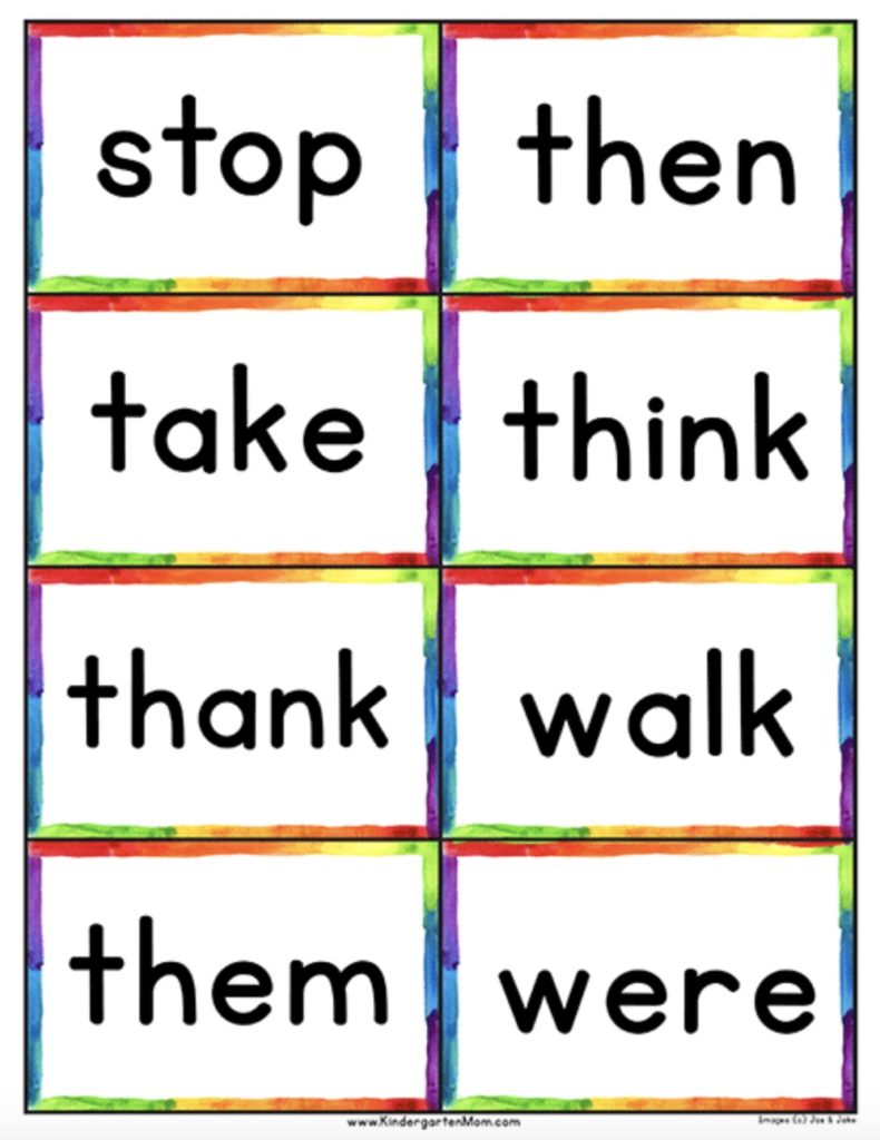 medium resolution of Free printables for kindergarten: Sight word help