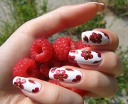 berry red nail design - art